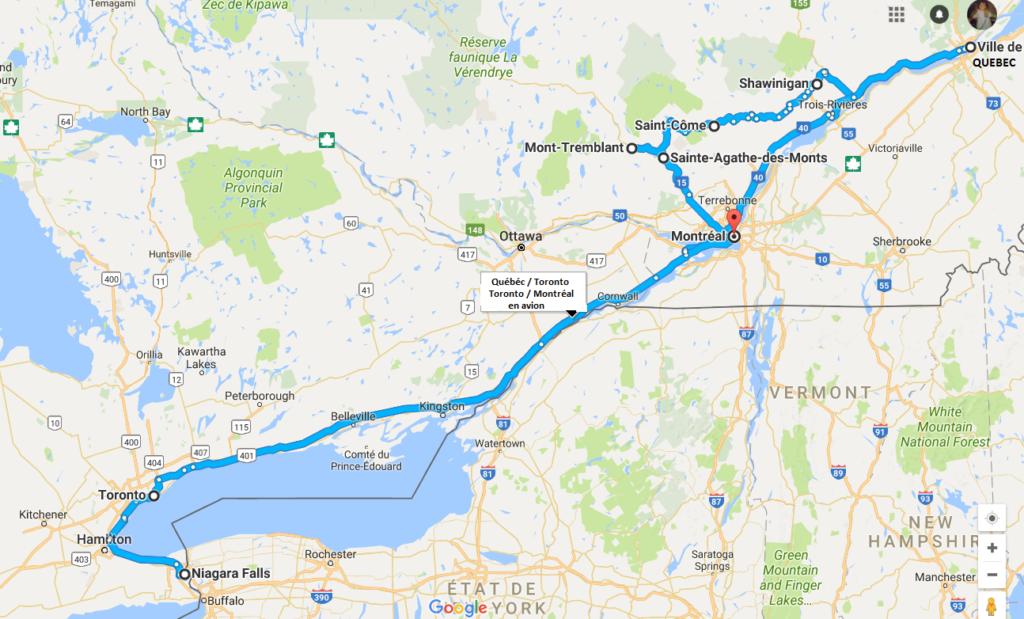 road trip québécois - itinéraire