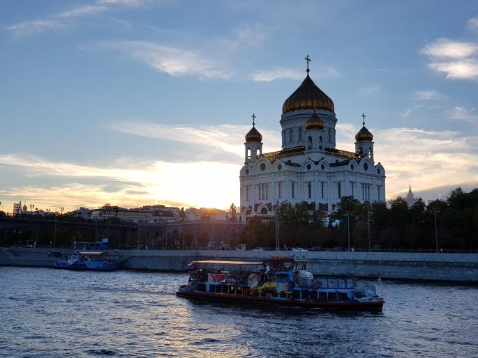 Crepuscule sur Cathedrale Christ Sauveur Moscou