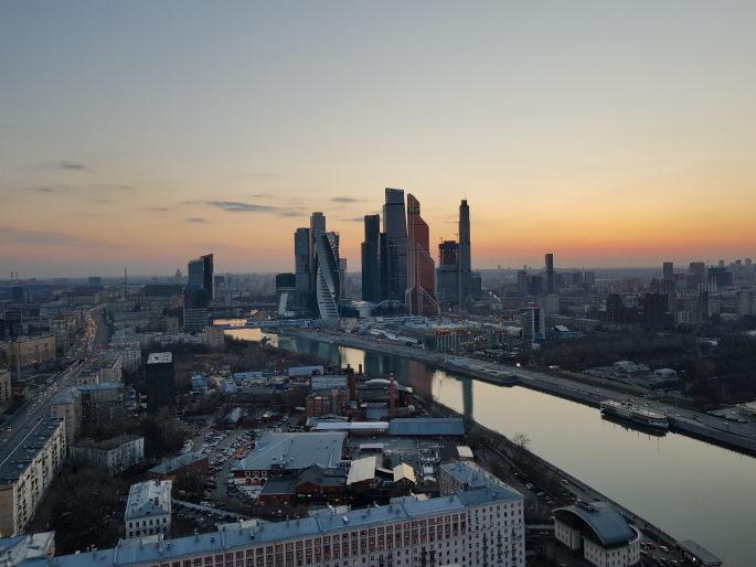 moscow city vue crépuscule